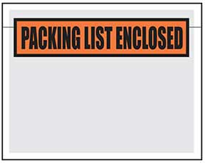 "Printed Packing List Pouches 7"" x 5.5"""